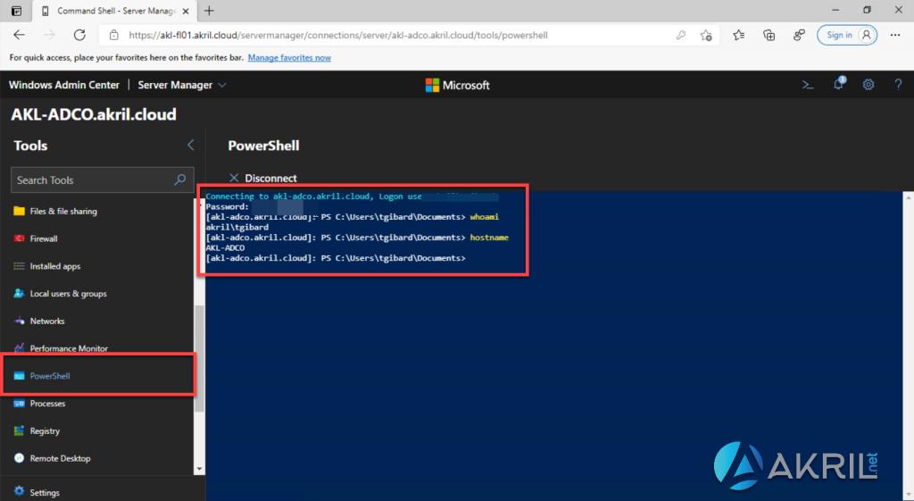 Se connecter en PowerShell à un serveur via Windows Admin Center