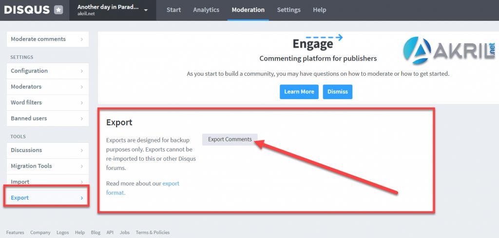Exporter vos commentaires depuis l'interface Disqus