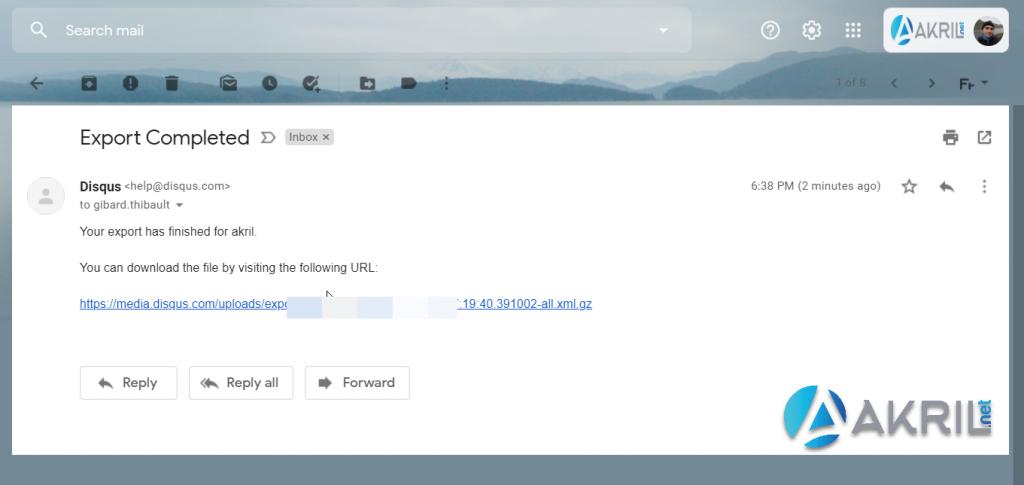Récupérer l'export Disqus (envoyé par email)