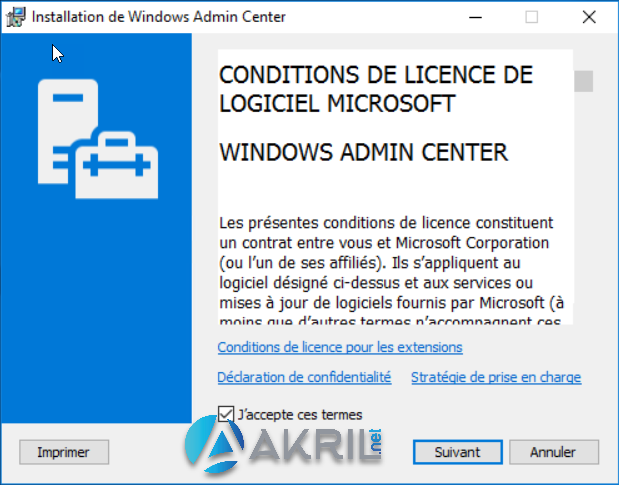 Installation de Windows Admin Center