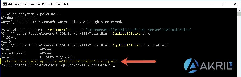 Récupérer le nom de l'instance SQL de l'AAD Connect en PowerShell