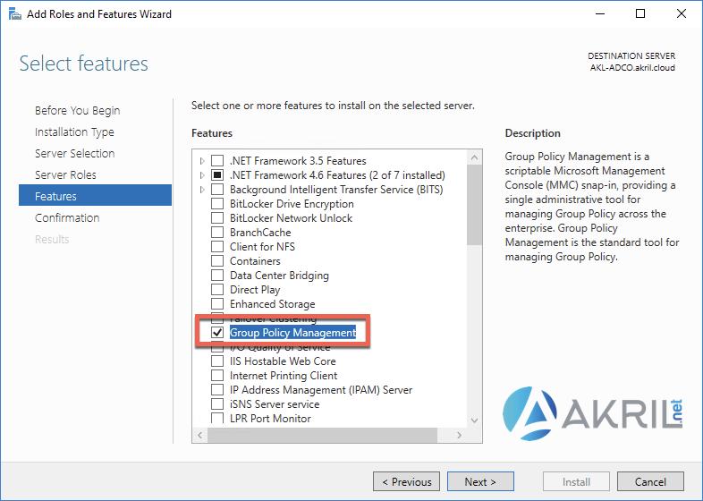 Installation du composant Group Policy Management (console) depuis le Server Manager
